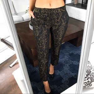 🆕in! BANANA REPUBLIC BLACK GOLD EMBROIDERED PANTS